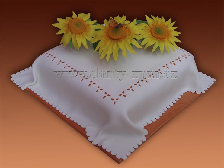 slunečnice, slavnostní dort