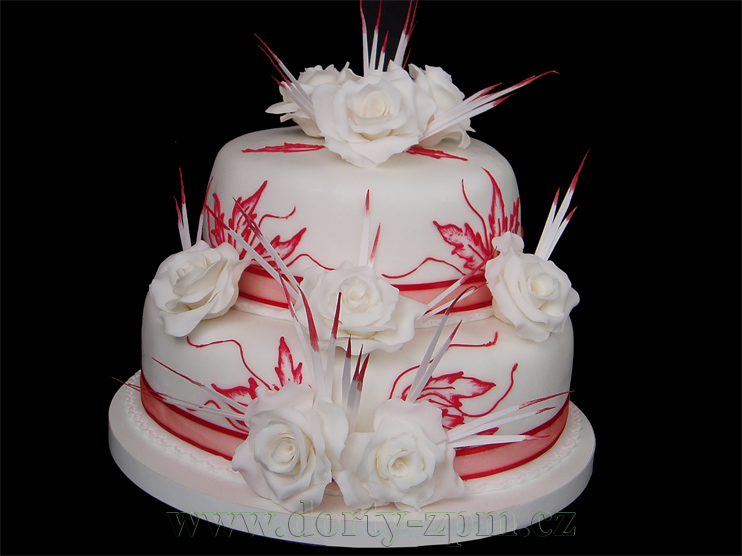 svatební dort, růže a rýžový papír