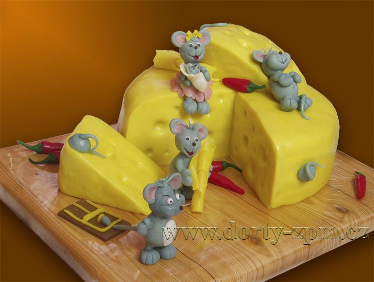 myši a sýr, dětský dort