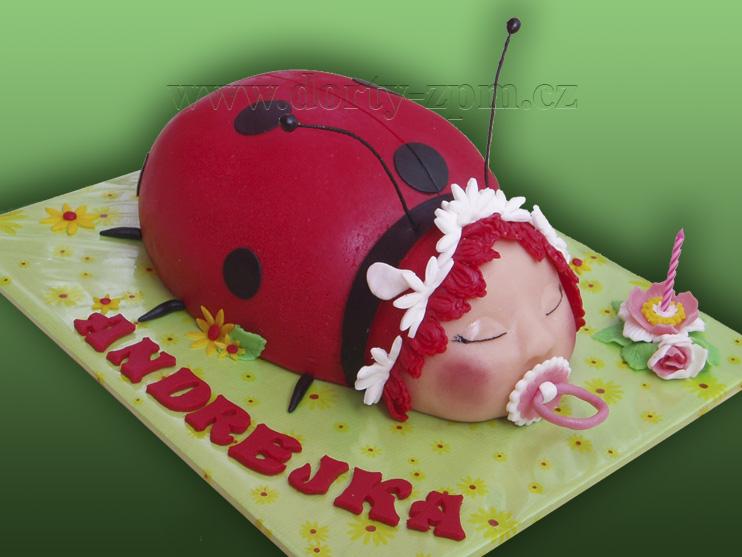 beruška 3D, dětský dort
