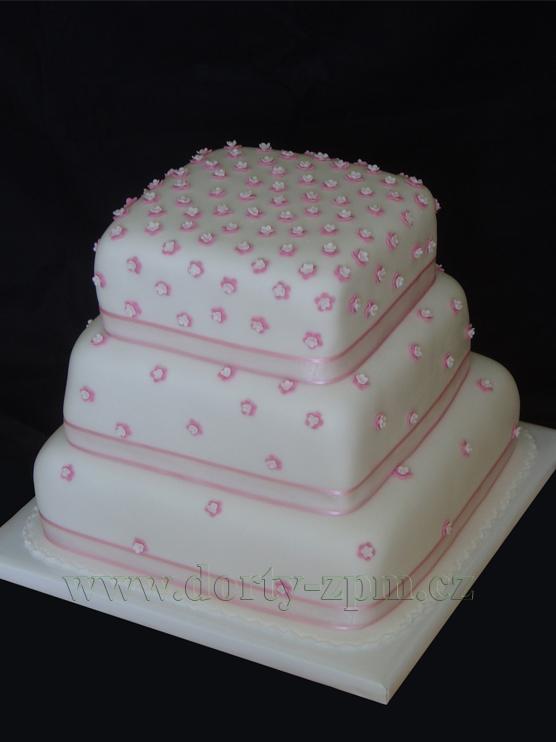 svatební dort, drobné kytičky