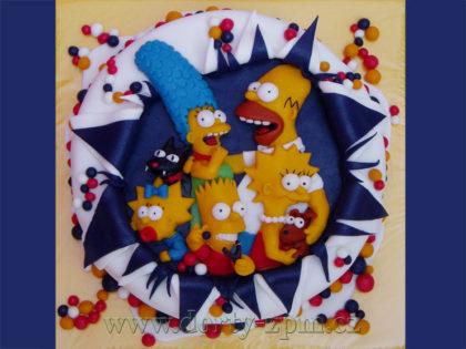 dort Simpsonovi, Bart, Lisa, Homer a Maggie, dětský dort
