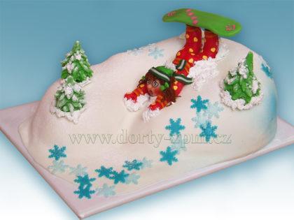 dort snowbord, figurka, dětský a sportovní dort