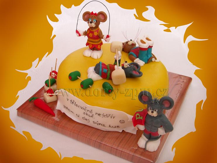 dort myši a tělocvička, dětský a sportovní dort