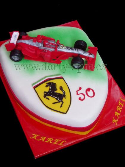 dort znak Ferrari, formule, sportovní a dětský dort