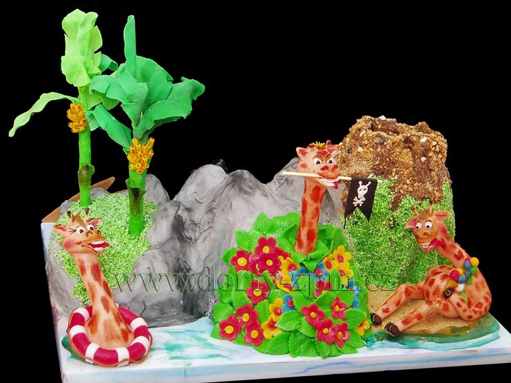 dort žirafy, dětský dort