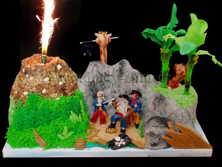 dort piráti, dětský dort