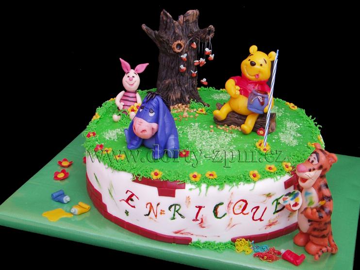 dort Medvídek PÚ, Ijáček, tygřík a prasátko, dětský dort
