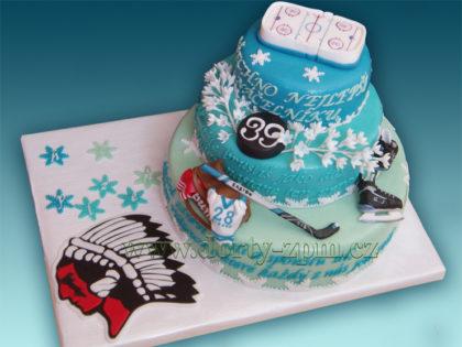 dort znak HC Plzeň, brusle a hokejky, sportovní dort