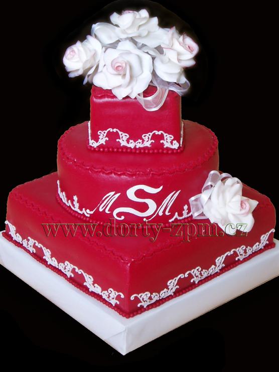 svatební dort, růže a monogram
