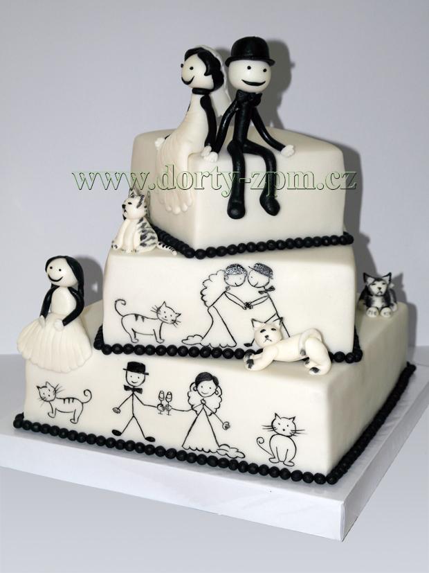 svatební dort, figurky ženich a nevěsta