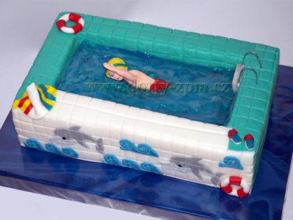 dort bazén 3D, sportovní dort