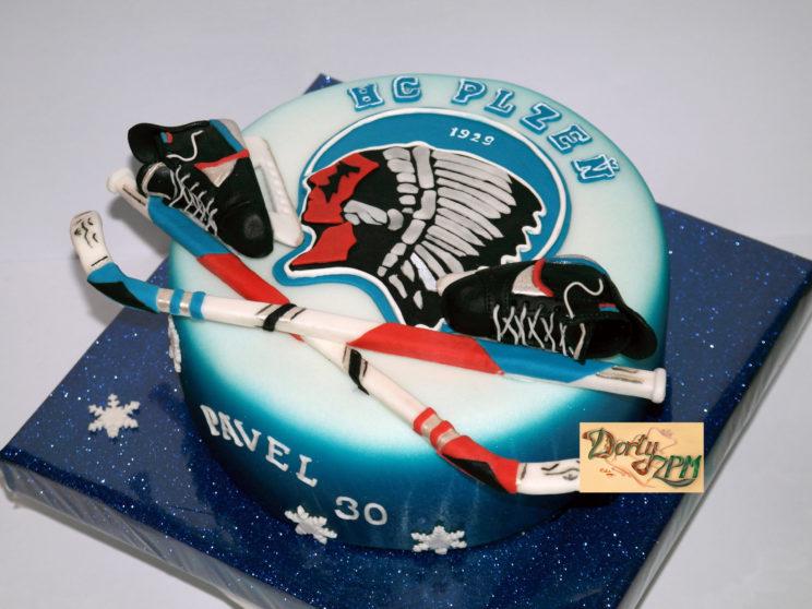 dort znak HC Plzeň, sportovní, brusle, hokejky