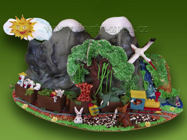 ZOO zvířátka, dětský dort