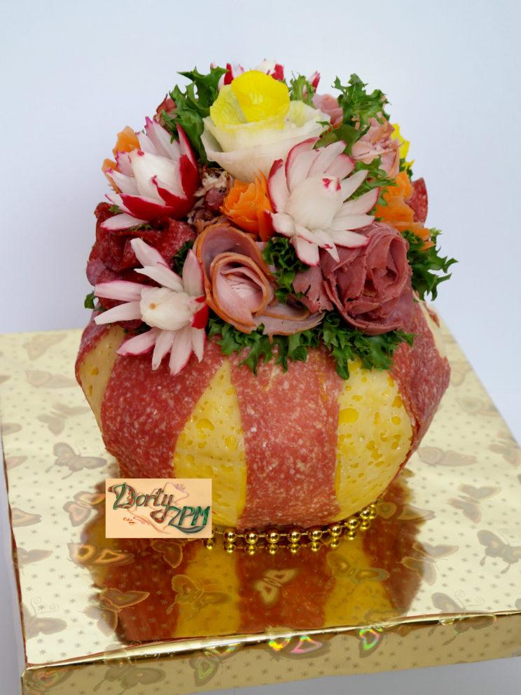dort,slaný,váza,kvetiny,salám,sýr