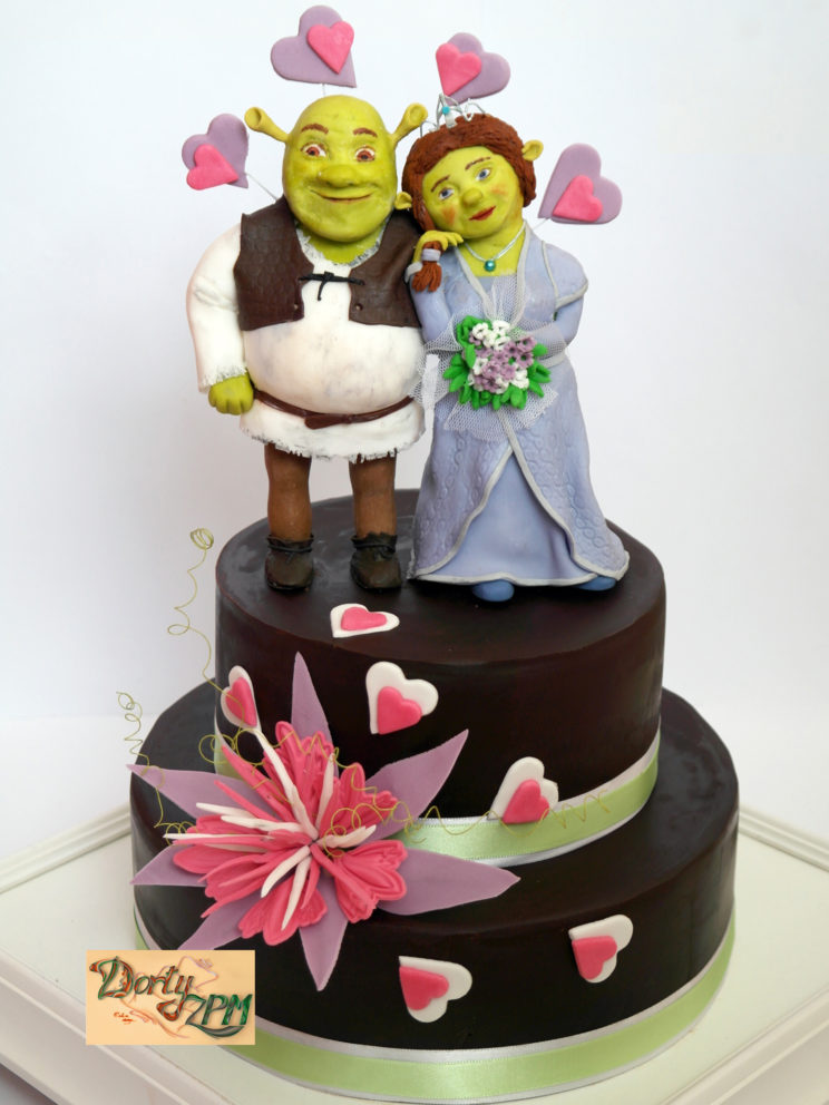 dort,svatební,shrek,fiona,kakaový,srdíčka