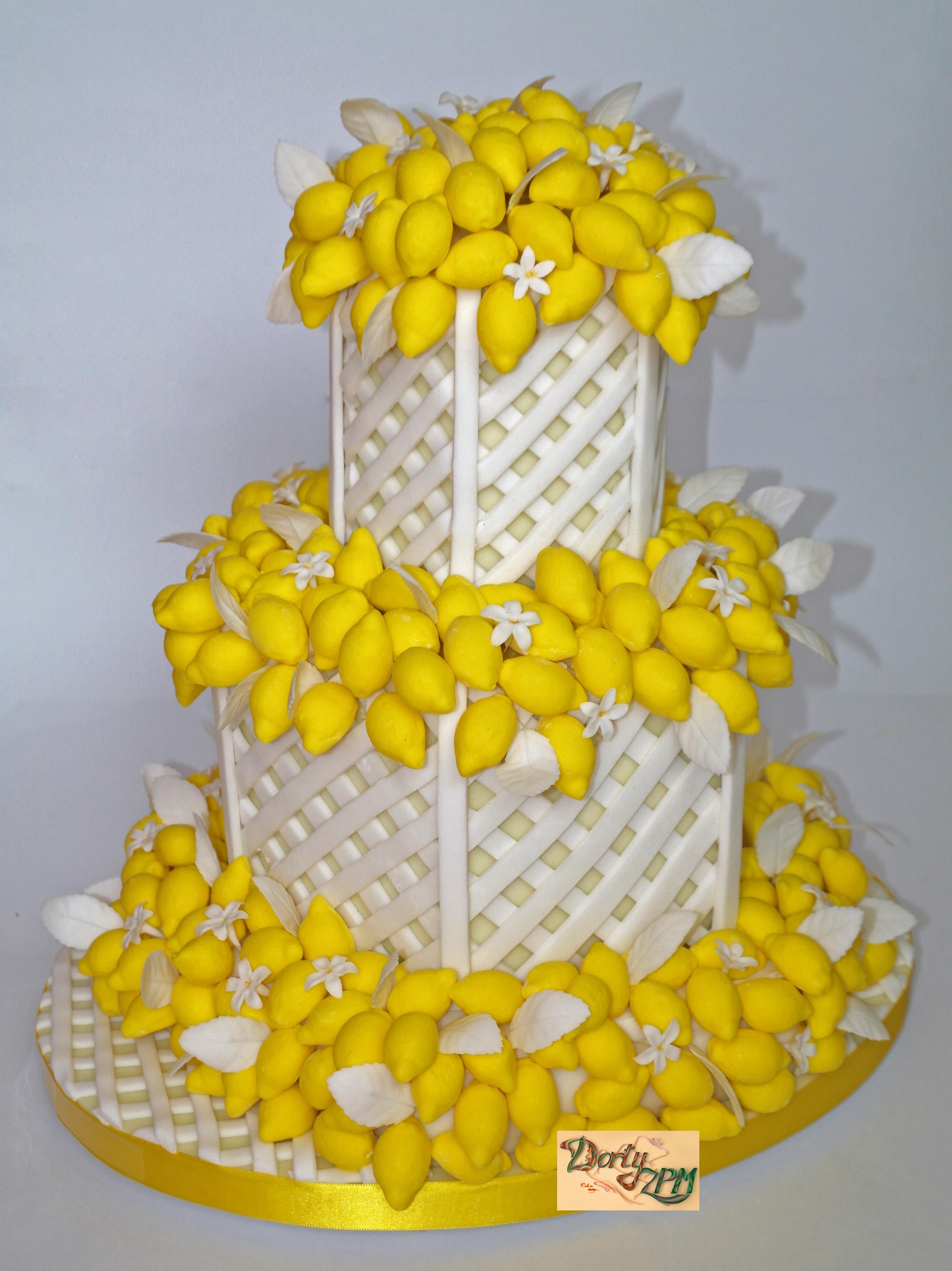 dort,svatební,citrony,mřížka,bílý,patrový,lístky