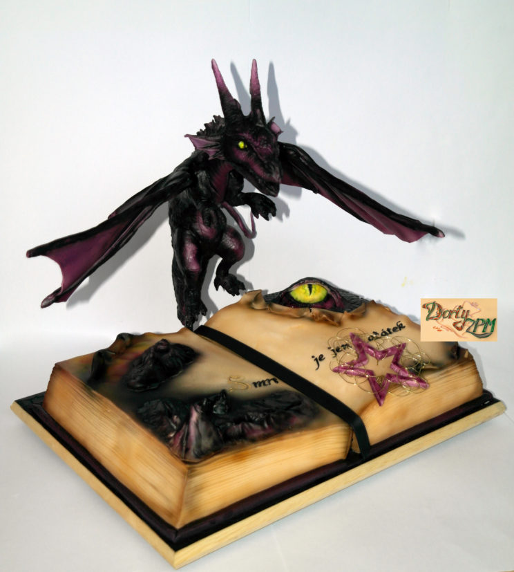 dorty,kniha,drak,oko,hory,pentagram