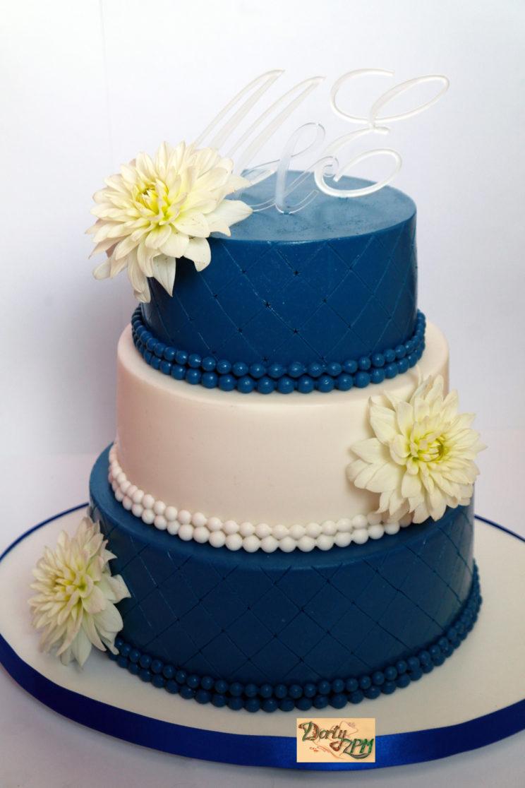 dort,svatební,jiřiny,modrý,bílý,monogram
