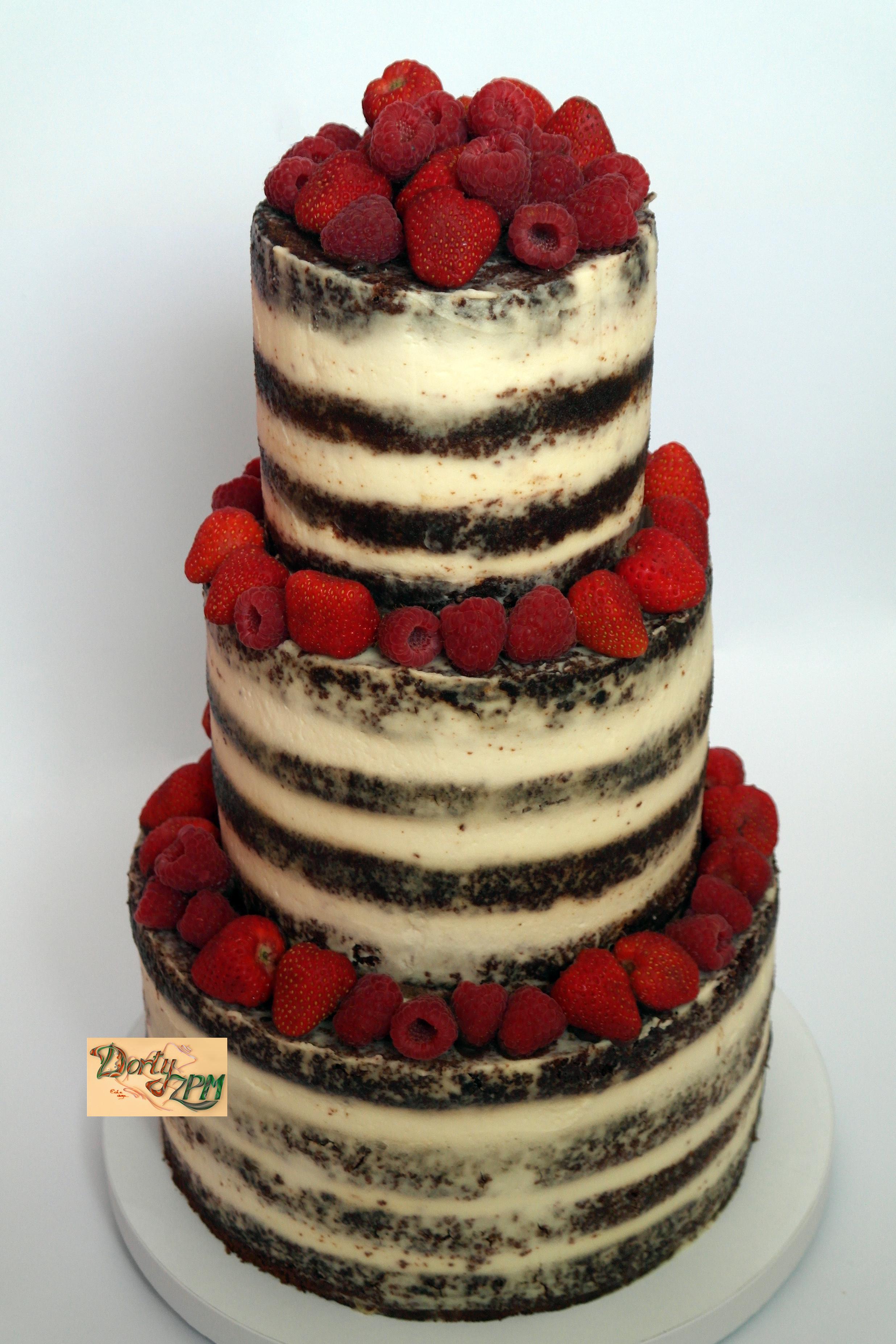 dort,svatební,ovoce,naháč,krém,nepotahovaný