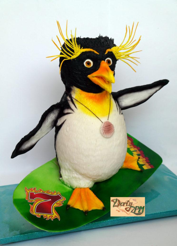 prostorové dorty tučňák na surfu
