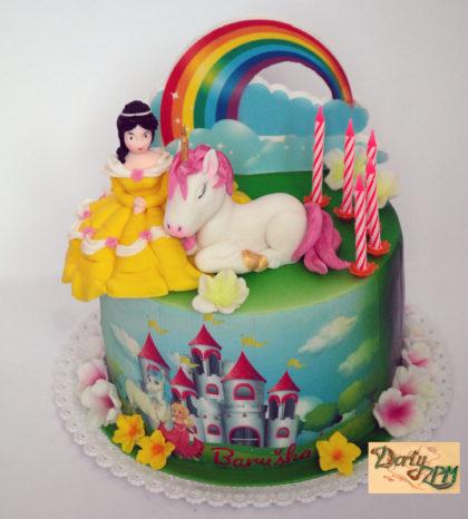 dort,dětský,potahovaný,princezna,jednorožec,duha,zámek