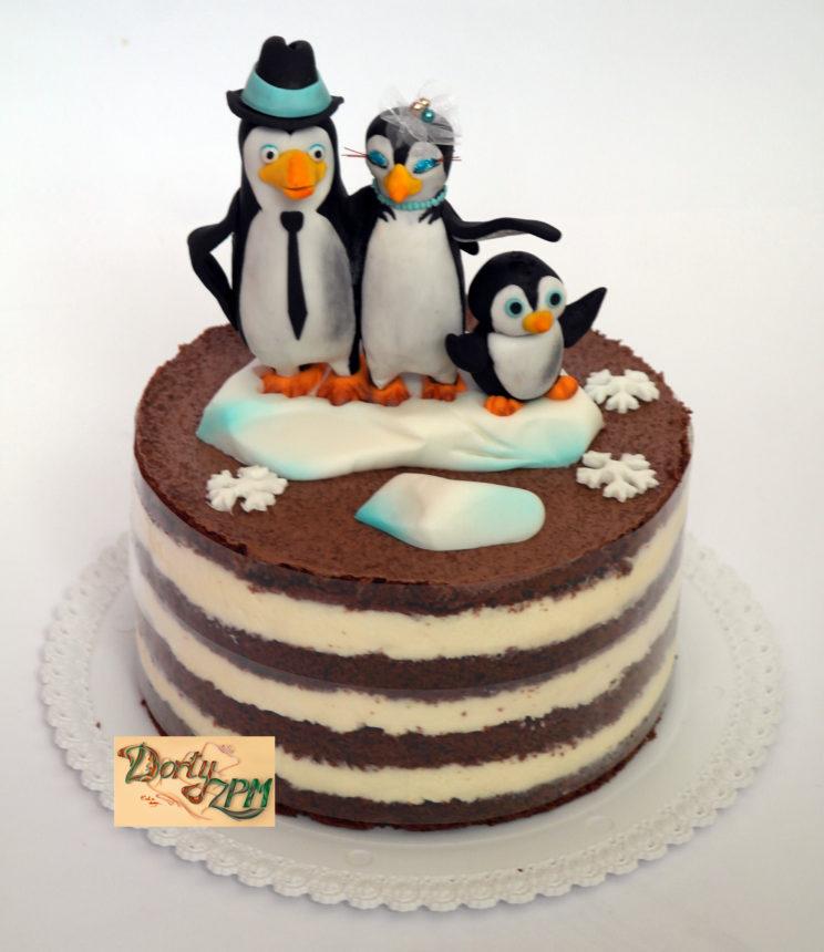 dort,svatební,tučňáci,rodinka,naháč,krém,korpus