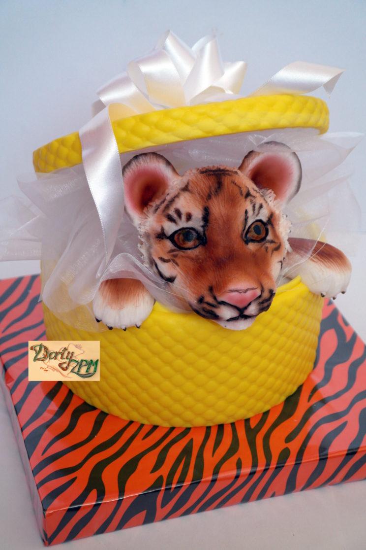 prostorové dorty hlava tygra v krabici